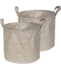 design imports polyethylene coated woven paper laundry bin tribal chevron stone round large set of 2