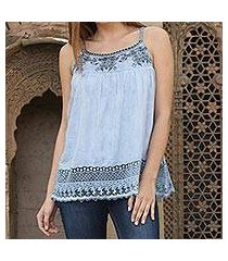 viscose camisole top, 'powder blue delight' (india)