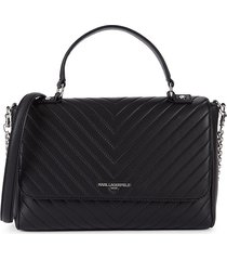 karl lagerfeld paris women's charlotte top handle satchel - black silver