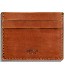 men's shinola harness leather card case - brown