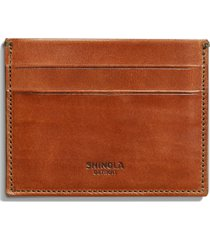 men's shinola harness leather card case - brown