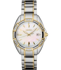 seiko women's diamond-accent two-tone stainless steel bracelet watch 33.3mm