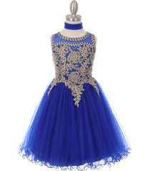 royal blue fabulous gold trimmed corset back closure wired tulle skirt dress