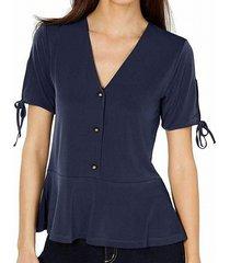 blouse button front peplum