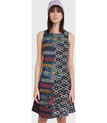 vestido desigual dress galactic jungle multicolor - calce regular