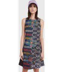 vestido desigual dress galactic jungle multicolor - calce regular