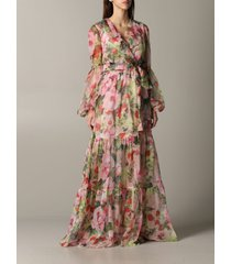 blumarine dress long blumarine dress in floral patterned chiffon