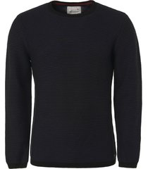 no excess pullover, r-neck, 2 col yd stripe navy
