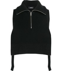 diesel ribbed knit pullover scarf - black