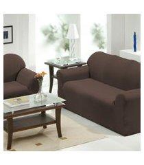 capa de sofá 2 e 3 lugares   tabaco - panosul