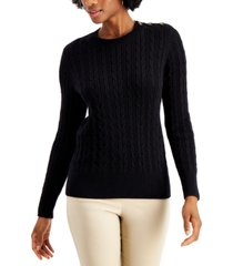 charter club petite cable-knit sweater, created for macy's
