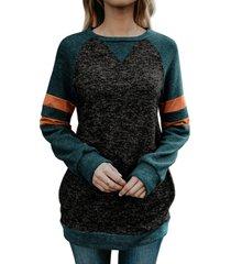 raglan sleeve striped colorblock pocket longline sweatshirt
