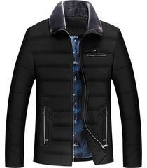 faux fur collar zippers design padded jacket