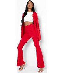 tall getailleerde broek met wijde pijpen, red