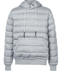 mostly heard rarely seen knit quilted pull over hoodie - grey