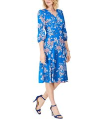 vince camuto floral-print faux-wrap dress