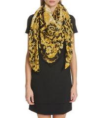 women's versace baroque medusa silk & modal scarf, size one size - black