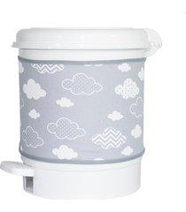 lixeira nuvem chevron cinza quarto bebê infantil unissex