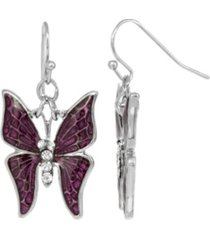 2028 women's silver tone and crystal accent butterfly drop earrings