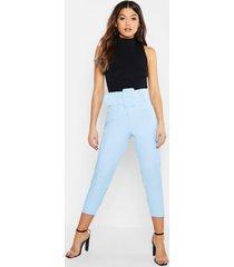 cigarette-broek met superhoge taille en ceintuur, denimblauw
