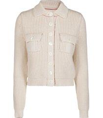 maison margiela milk white cotton blend jacket