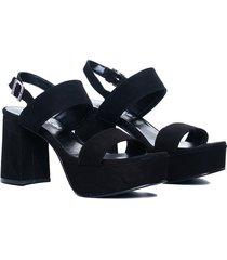 sandalia de gamuza negra vercal