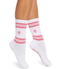 women's alexander mcqueen skull stripe socks, size medium - white