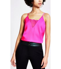 river island womens bright pink lace v neck cami top