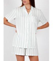 pyjama's / nachthemden admas pyjamashirt kort klassiek stripes groen