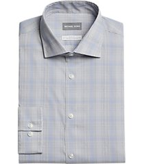 michael kors slim fit dress shirt light blue plaid