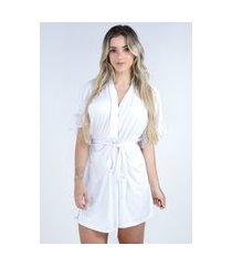 hobby roupão bravaa modas robe amarrar lingerie 238 branco