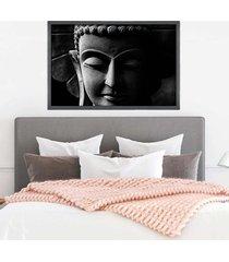 quadro com moldura buddha em cinza grafitti metalizado - grande - tricae