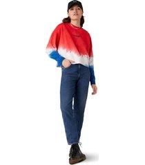 women's wrangler tie dye logo sweatshirt, size x-small - blue
