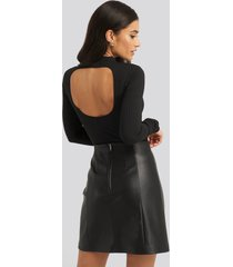 na-kd party open back ribbed body - black