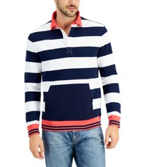 club room men's striped rugby sweatshirt, created for macy's