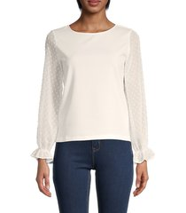 love ady women's organza lace-sleeve top - white - size m