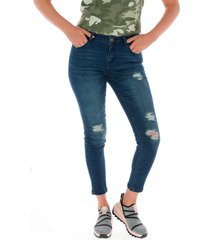jeans mujer distressed jegging azul cat