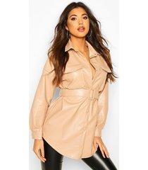 oversized belted pu utility jacket, beige