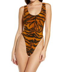women's norma kamali marissa one-piece swimsuit, size small - brown