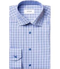 eton men's plaid contemporary-fit shirt - blue - size 16