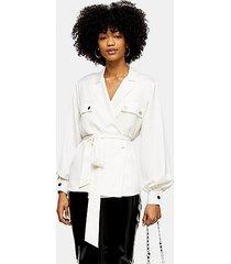 cream belted utility shirt - cream