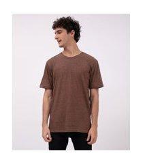 camiseta básica lisa   ripping   marrom   m