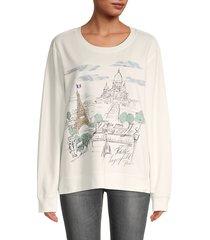karl lagerfeld paris women's graphic crewneck sweatshirt - soft white - size xl