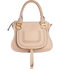 chloe small marcie leather satchel - pink