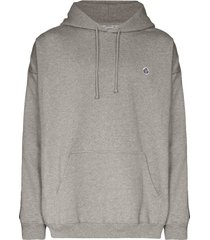 vetements logo-tape pouch-pocket hoodie - grey
