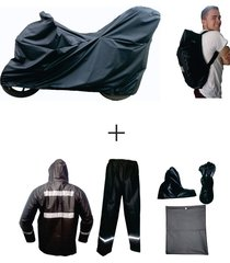 combo impermeable x3 pijama moto baúl + traje 4p + forro maleta -negro