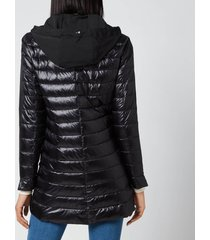 herno women's hooded ultralight mid length coat - navy - it 44/uk 12