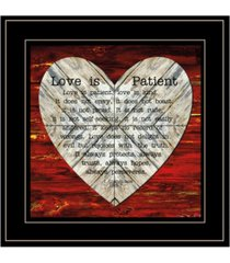 "trendy decor 4u love is patient by cindy jacobs, ready to hang framed print, black frame, 15"" x 15"""
