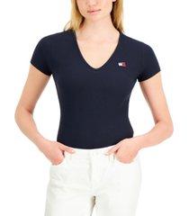 tommy jeans short sleeve v-neck bodysuit