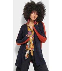 cardigan cantão tricot manga longa bicolor feminino